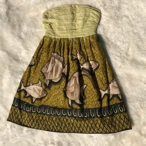 Anthro Vanessa Virginia Baxter Bay Strapless Dress